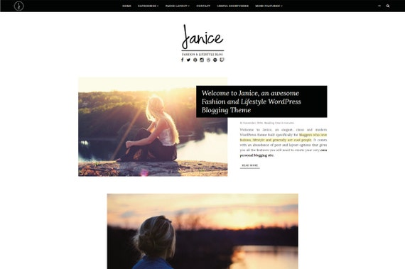 Janice Plantilla de WordPress para blogger y Fashion | Etsy