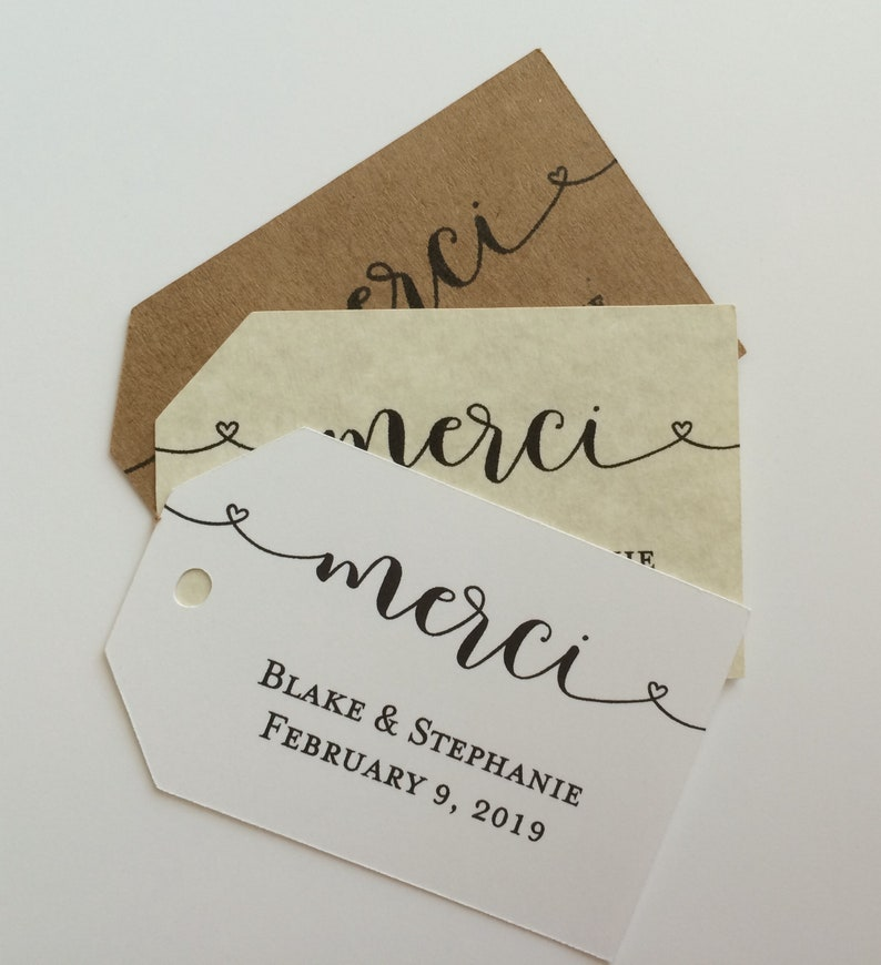 Merci Tag Personalized Gift Tags Wedding Favor Tags Custom Paper Tag Wedding Favors Custom Tag Wedding Tag Custom Favor Tags Set Of 24