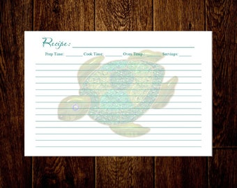 Recipe cards, Personalized recipe cards, Custom Recipe cards, Turtle design, Sold in multiples of 20