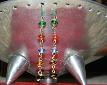 Wire-Wrapped Rainbow Glass Earrings