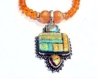 Dichroic Necklace, Dichroic Pendant, Sterling Silver Fancy Dichroic Pendant & Orange Faceted Glass Bead Necklace