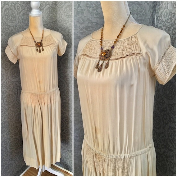 1920s Beige Silk Day Dress, Beautiful Details, Med