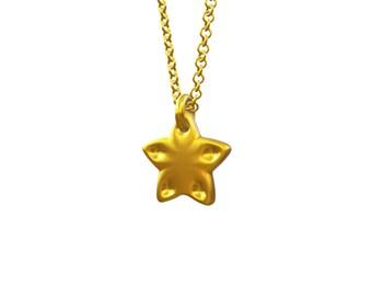 Tiny Christmas star charm, solid gold Christmas star charm, little gold Christmas star charm, cute small star