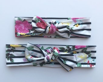 Mommy & Me Striped Floral Headbands