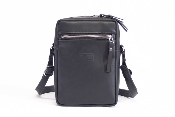 Vertical side bag Crossbody black leather bag Mens cross  cfd7054893a