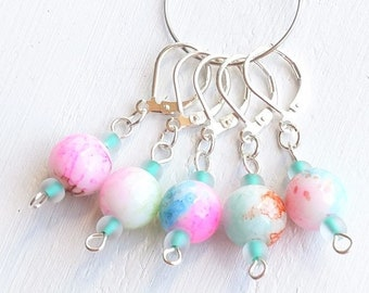 Locking Crochet Stitch Markers, Snag Free Progress Keepers, Stitch Marker Set, Row Markers, Sunset Colors, Lever Back Markers, Knitting