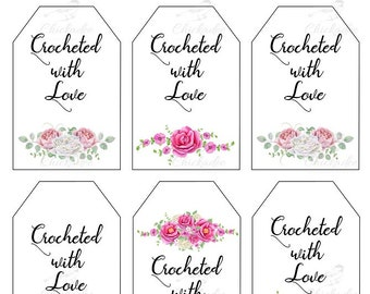 Crochet Labels Bundle Printable Care Instruction Tags Watercolor Flowers DIY Wrap Crocheted With Love INSTANT DOWNLOAD