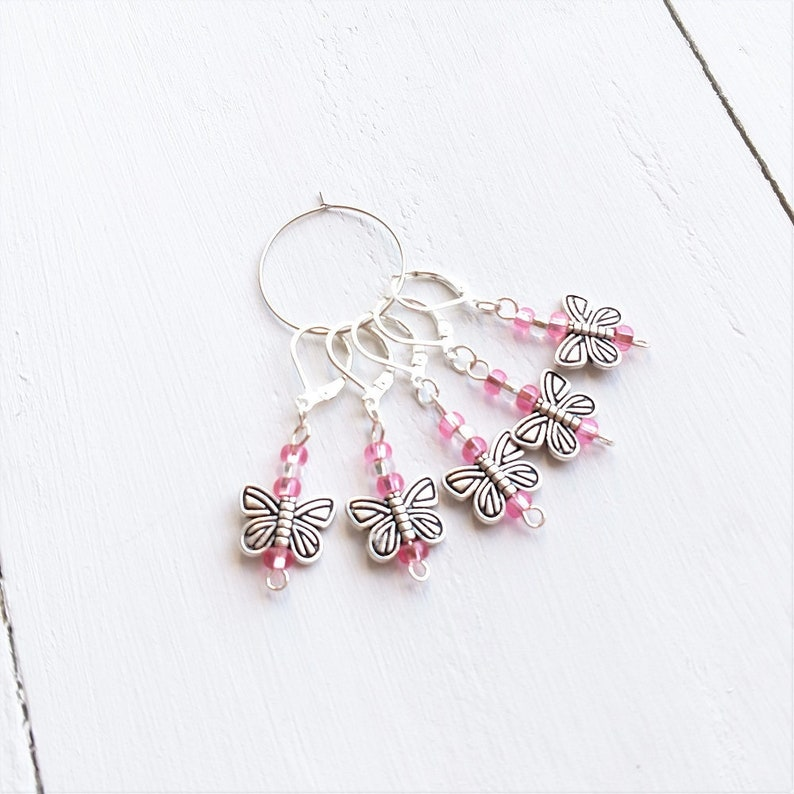 Crochet Stitch Markers with Butterfly Charms, Easy Open and Close, Optional  Storage Tin Available!