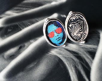 Rock n Roll rings. Rolling Stones. The Doors. Rock n roll jewelry. Leather Jewelry. Printed Leather. Bestie Jewelry. Statement rings.