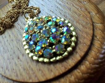 Gold Aurora borealis sparkling rhinestone oval pendant necklace