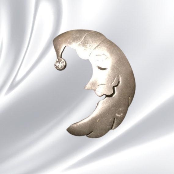 Moon, half moon, silver moon, moon brooch, moon b… - image 1