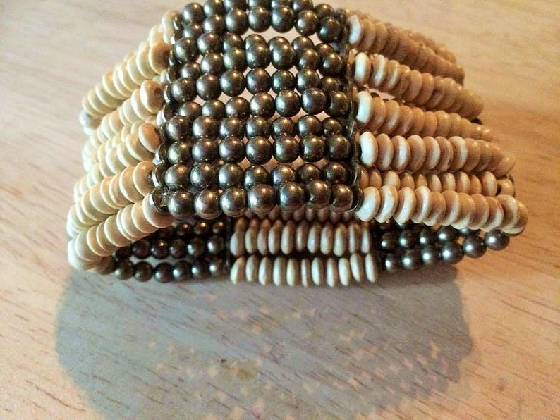 brass and wooden beaded ethnicafrican stretchy bangle