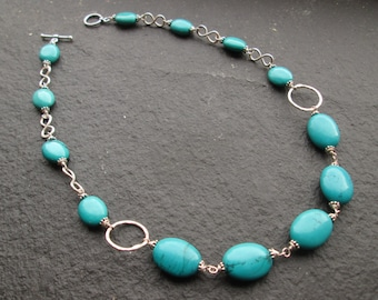 Chunky Turquoise Necklace - Silver Turquoise Necklace, Turquoise Jewellery, Boho Turquoise Necklace, Gemstone, Beaded, Hammered Silver