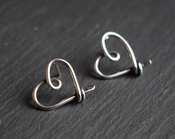 Silver Wire Heart Stud Earrings - 'AMORE', Heart Earrings, Heart Jewellery, Heart Studs, Silver Studs, Sterling Silver, Wire Wrapped