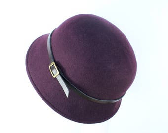 Womens Winter Hat - Felt Cloche Hat, Millinery, Stylish Womens Hat, Purple Hat, Ladies Hat, 20s Hat, Wool Felt Hat, Womens Felt Hat,