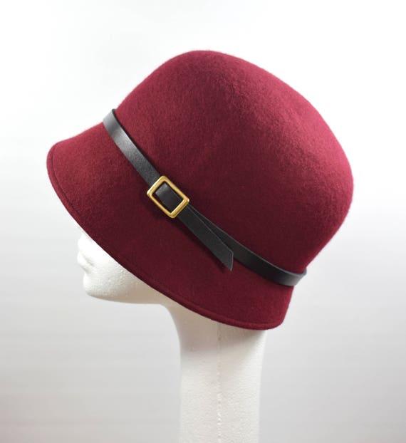 c36c489649e3c Maroon Red Felt Cloche Hat Wine Claret Ladies Hat Winter