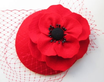 Poppy Red Hat | Red Fascinator, Wedding Hat, Womens Hat, Formal Hat, Cocktail Hat, Felt Hat, Millinery, Races Hat, Ascot, Derby, Tea Party