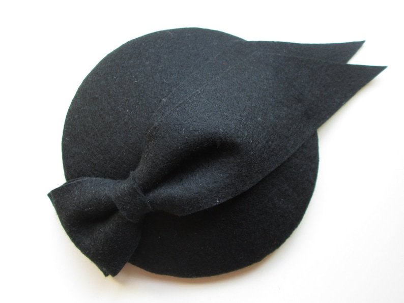 Black Fascinator  Black Hat Fascinator Hat Wedding image 0