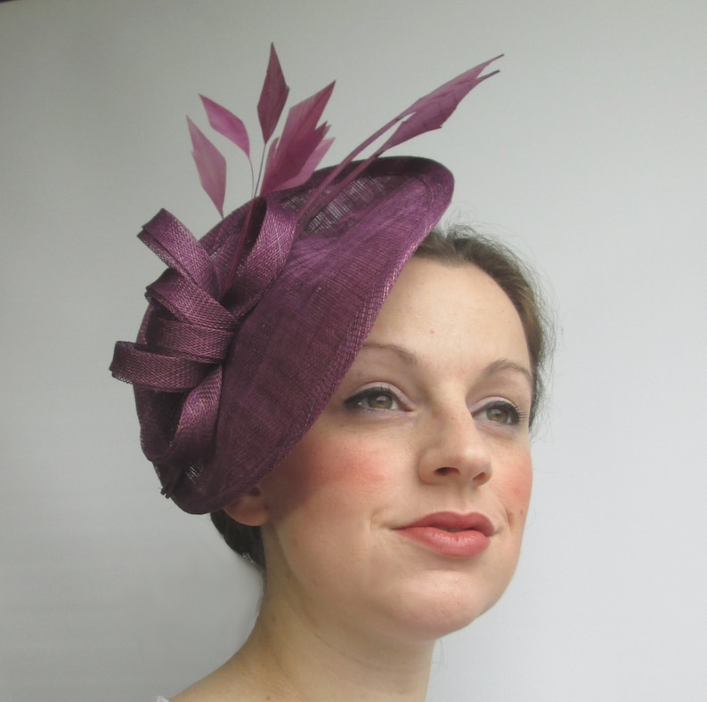 bfbe9bf1e981d Plum Purple Hatinator Disc Fascinator Saucer Hat Plum