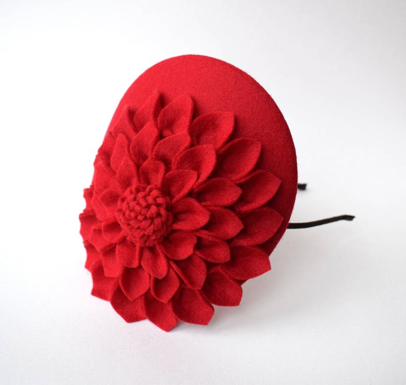 0abcd77f24838 Red Fascinator Hat Red Hat Cocktail Hat Womens Hat Small