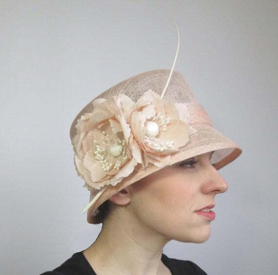 Peach Wedding Hat Womens Hat Ladies Hat Peach Hat Formal  f5a9de82262