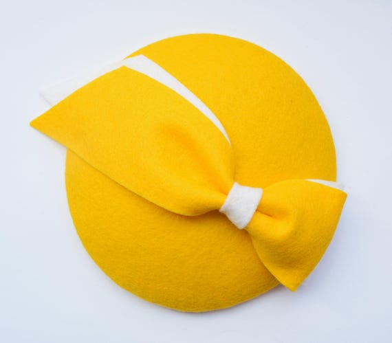Yellow Felt Hat Yellow Fascinator Cocktail Hat Bow  c65e44f7bba