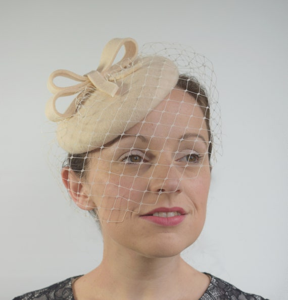 Cream Felt Bridal Hat Percher Hat Winter Wedding Hat with  be7f463cbe0