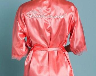 Blush Pink Satin Lace Bridesmaid Embroidered Robe-Free Ship