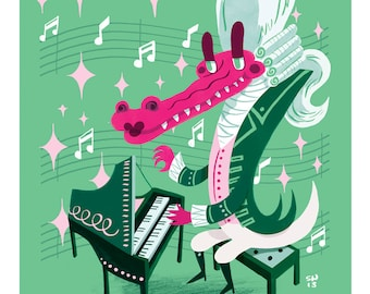 Limited Edition Classical Alligator: the King of Pianists; 8x10