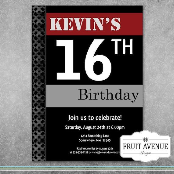 teenage boy birthday party invitation printable etsy