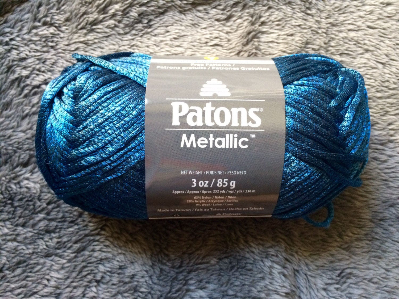 Patons Metallic yarn - Blue Steel - Deep Blue Shiny Soft Metallic ...