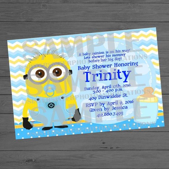 Baby minion baby shower invitation minion baby shower etsy filmwisefo