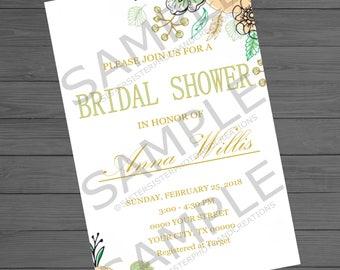 Mint Peach Floral Bridal Shower Invitation, 4x6 Bridal Shower Invitation
