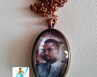 Malcolm X Glass Pendant Necklace with Antique Copper Finishings - Ghana, West Africa - 1964 - Afrocentric Jewelry - Gifts