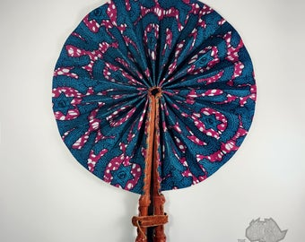 Leather Fan with African fabric