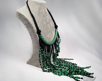 Handmade Green and Black bead necklace