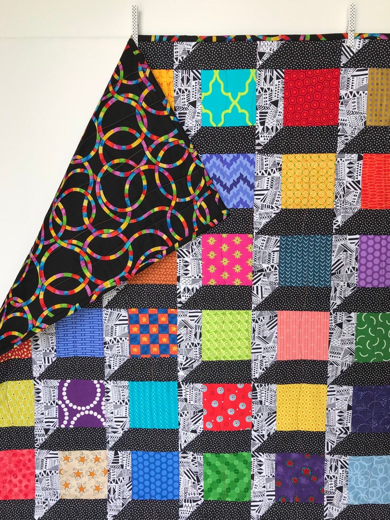 Modern Baby Quilt Jamie Bright Colors Baby Blanket Black And White Quilt Gender Neutral Baby Blanket