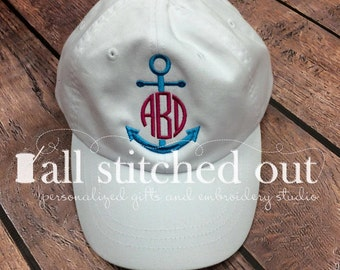 32539087a29be Anchor Monogrammed Hat - Monogrammed Ship Hat - Personalized Cap -  Personalized Ball cap - Monogrammed Anchor hat - Monogrammed Hat