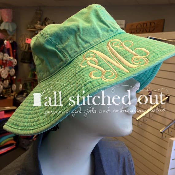 637e034367f Monogrammed Sea Breeze Floppy Hat Monogrammed Beach hat