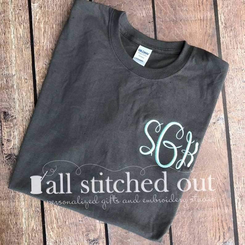 54259a57fc369 SALE!!! Monogrammed Basic Short Sleeve Tee - Monogram T-Shirt - Monogrammed  Short Sleeve T-Shirt - Monogram Tee - Personalized T-Shirt