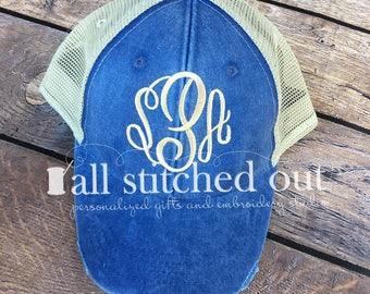 Monogrammed Distressed Trucker Hat - Monogrammed Trucker hat - Monogram Hat - Personalized Ball cap - Personalized hat - Monogram hat