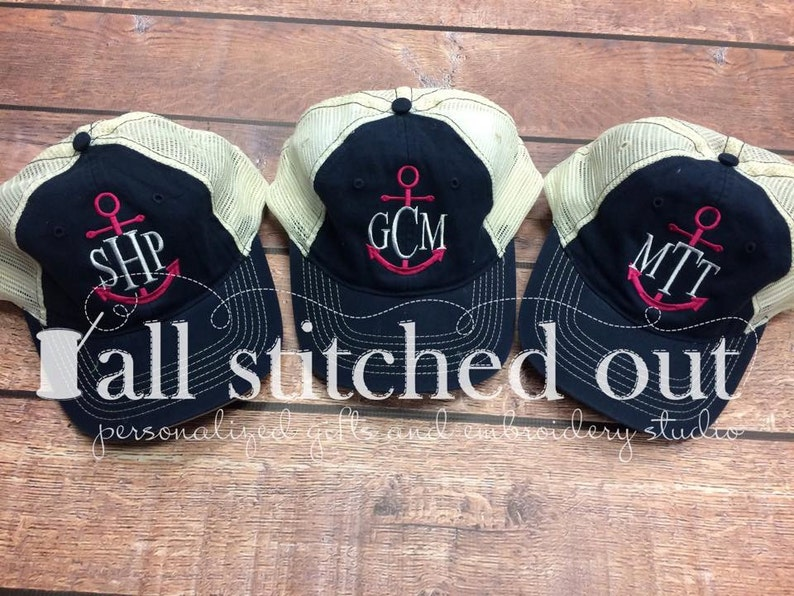 d2678e1a09fc8 Monogrammed Trucker Hat Anchor with Classic Monogram
