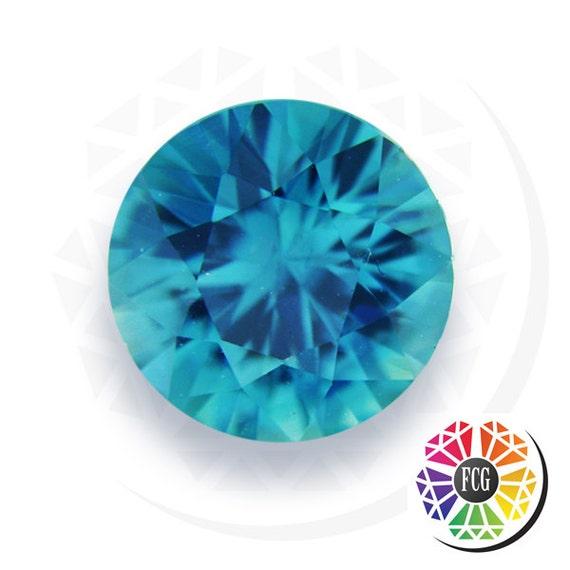 december birthstone loose round genuine blue zircon electric etsy