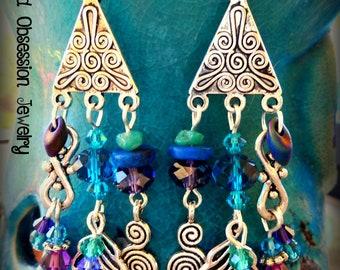 Feather Earrings; Boho Earrings; Peacock Feather Earrings; Purple Hippie Earrings; Bohemian Earrings; Festival Jewelry; Australian Seller