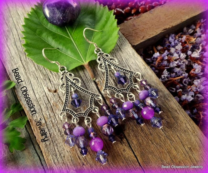 Purple Boho Earrings; Hippie Bead Earrings; Purple Gypsy Earrings; Festival Jewelry; Bohemian Earrings; Yoga Jewelry; Australian Seller