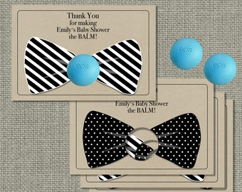 Bow Tie Kraft Paper Baby Shower Favors for EOS lip balm | Thank You Favor Tags |No. BOW-EOS