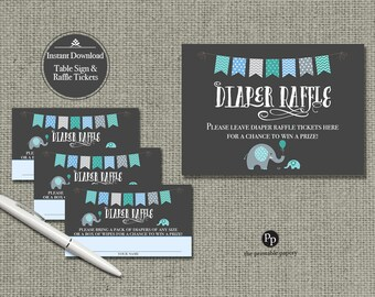 Baby Shower Diaper Raffle | Elephant Blue Green Raffle Ticket | Printable | Instant Download | BBE1-133DR