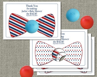 Printable Thank You Bow Tie Favor Cards for eos lip balm | Red White and Blue Bow | Thank You Card | No. BOW-eos