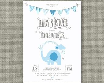 Printable Baby Shower Invitation Card |Elephants Balloon Design | Digital Download | Blue Elephant Shower | Customize | DIY - No. BBM1-1