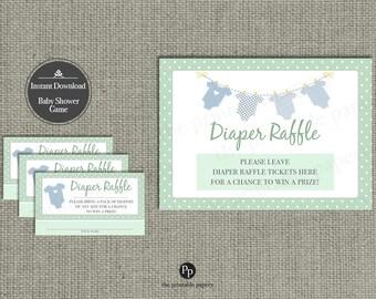 Baby Shower Diaper Raffle |  Baby Onesie Banner Design | Printable | Instant Download | BAM | GR-133DR5
